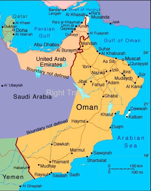 Oman Map Oman Location Map of Muscat