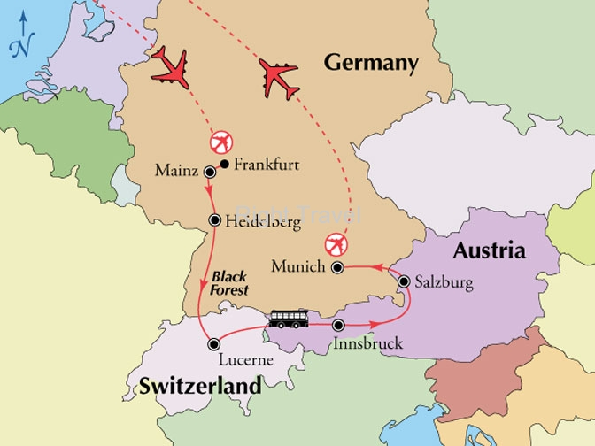 Day Germany Switzerland Austria - Germany map salzburg