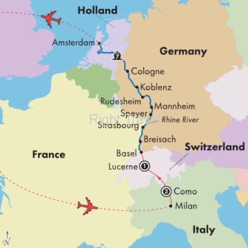 12 Day Rhine River Cruise with Italian Lakes & Swiss Alps