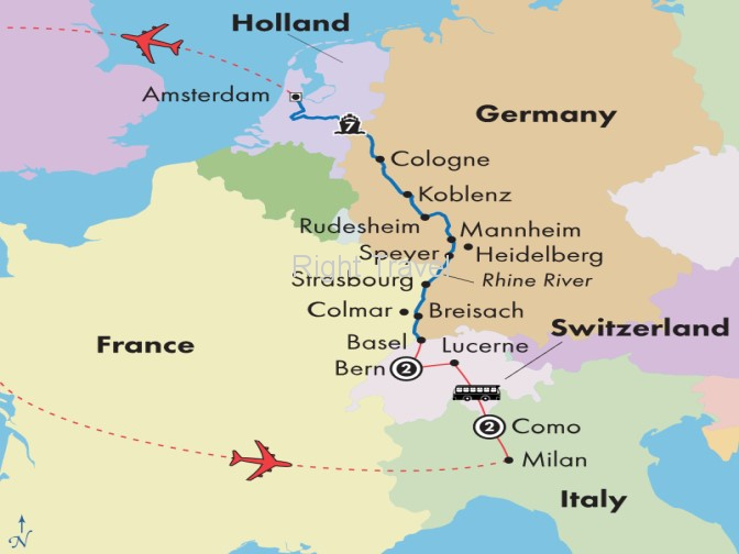 13 Day Rhine River Cruise with Italian Lakes & Swiss Alps