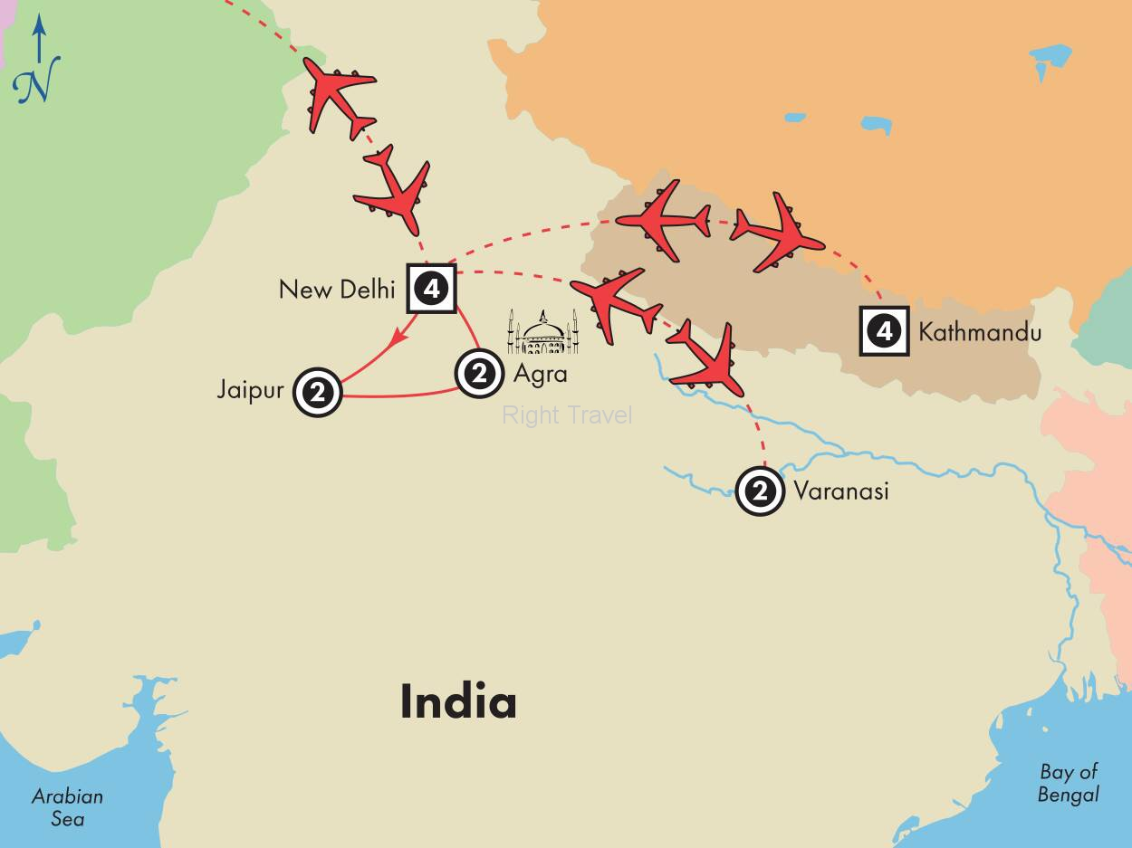16 Day Golden Triangle of India with Varanasi and Nepal