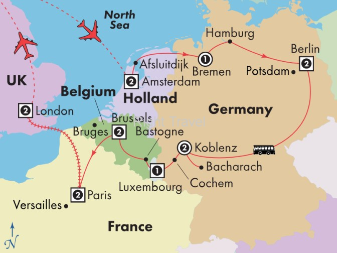 Map Of Germany Luxembourg Belgium.16 Day Holland Germany Luxembourg Belgium With Paris London