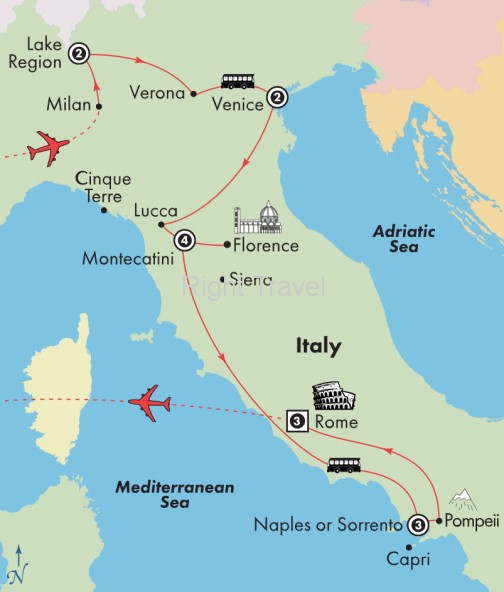 16 Day Tuscany & Amalfi with Lake Region, Venice & Rome
