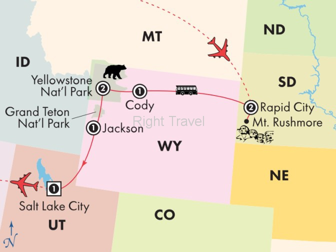 8 Day Classic National Parks, Mt. Rushmore, Yellowstone & Grand Teton