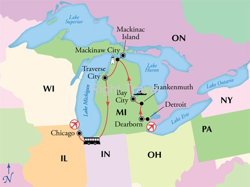 9 Day Michigans Lakes and Mackinac Island with Chicago